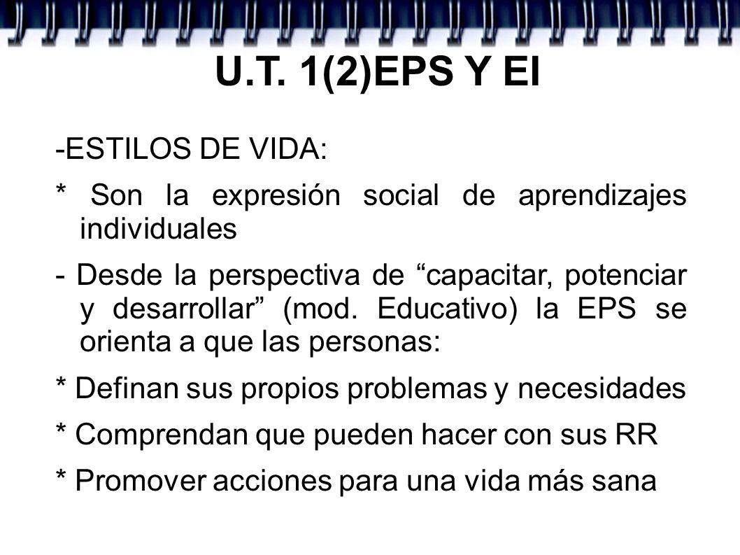 U.T. 1(2)EPS Y EI -ESTILOS DE VIDA: * Son la expresión social de aprendizajes individuales - Desde la perspectiva de capacitar, potenciar y desarrolla