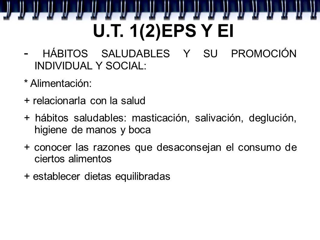 U.T. 1(2)EPS Y EI - HÁBITOS SALUDABLES Y SU PROMOCIÓN INDIVIDUAL Y SOCIAL: * Alimentación: + relacionarla con la salud + hábitos saludables: masticaci