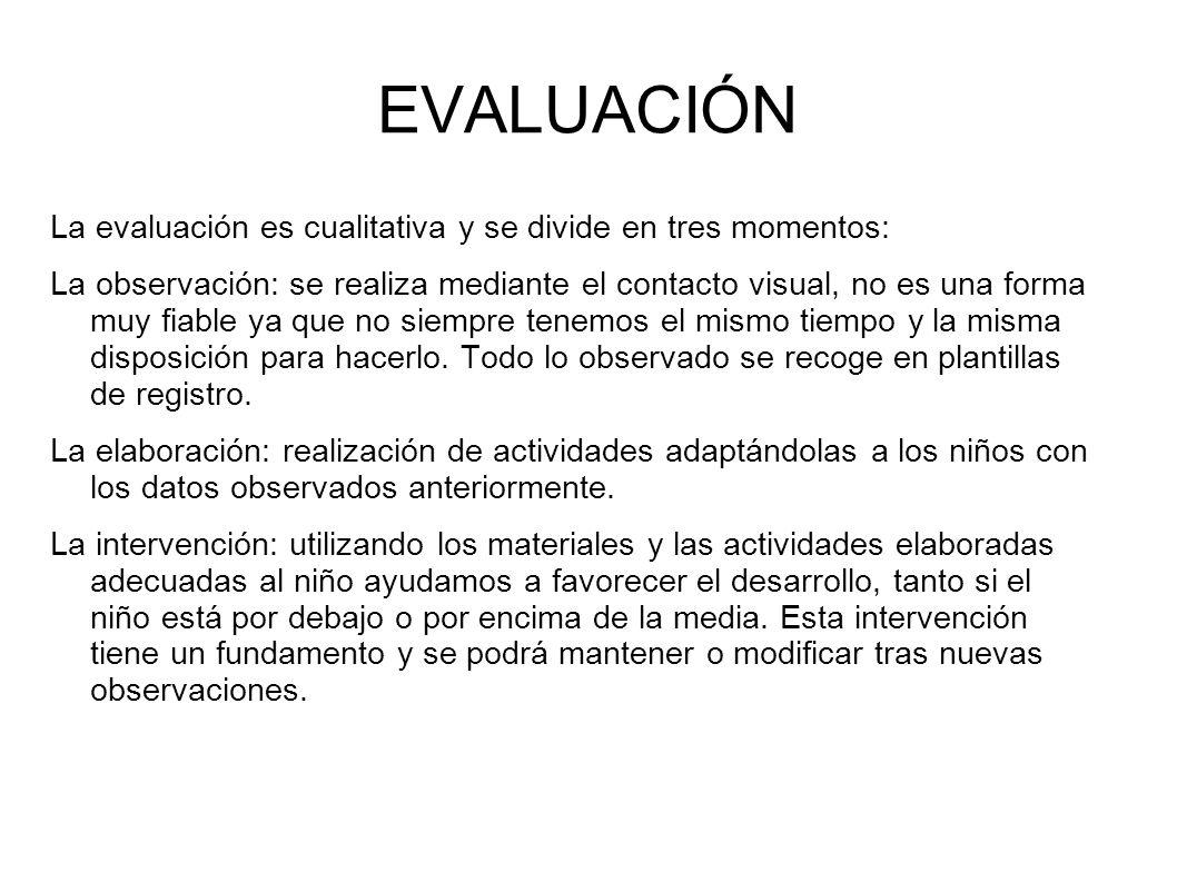 EVALUACIÓN La evaluación es cualitativa y se divide en tres momentos: La observación: se realiza mediante el contacto visual, no es una forma muy fiab