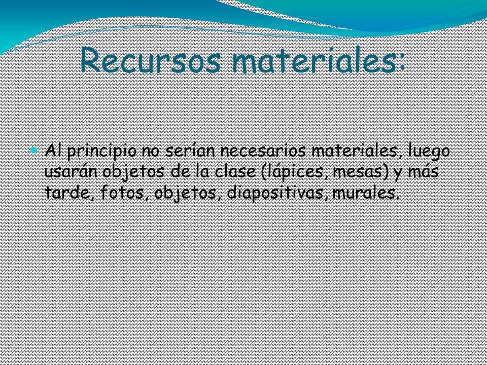 Recursos materiales: Al principio no serían necesarios materiales, luego usarán objetos de la clase (lápices, mesas) y más tarde, fotos, objetos, diap