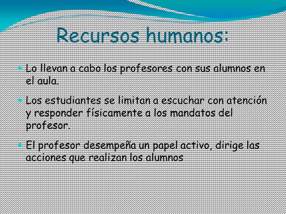 Recursos humanos: Lo llevan a cabo los profesores con sus alumnos en el aula. Los estudiantes se limitan a escuchar con atención y responder físicamen
