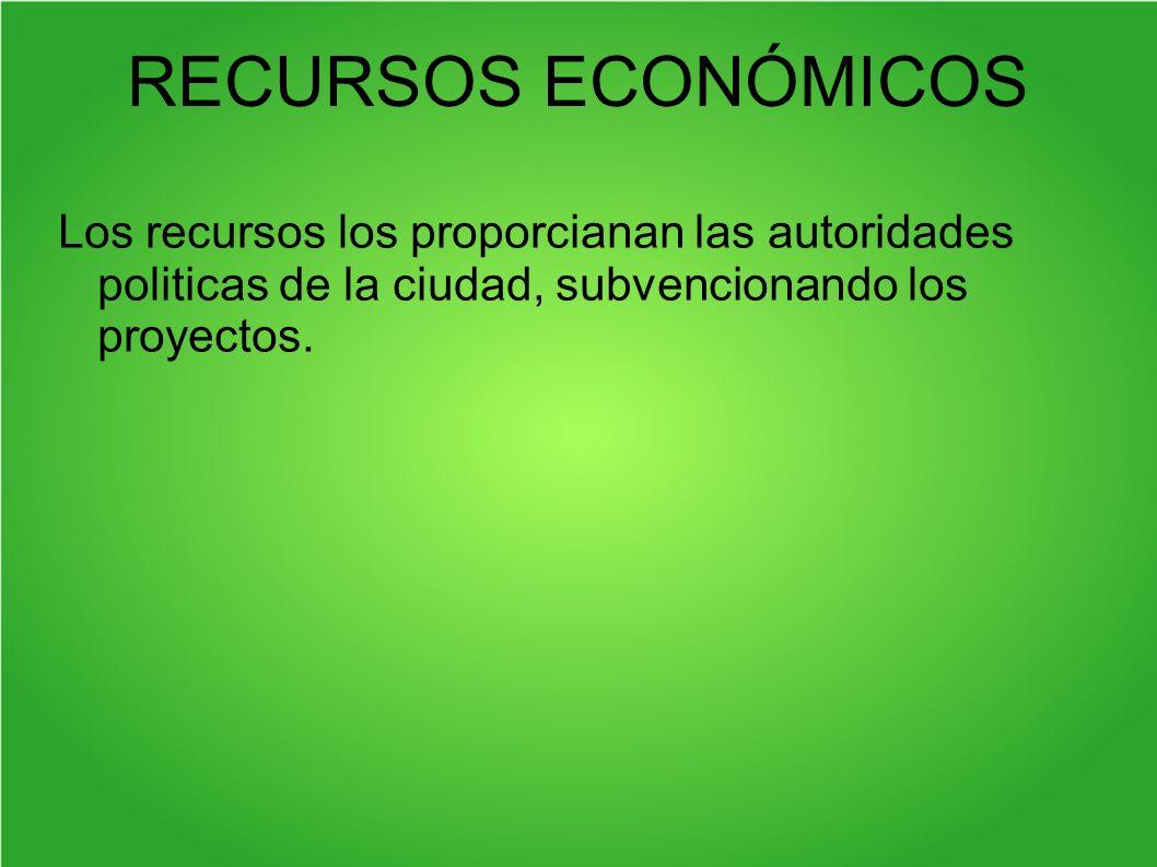 RECURSOS ECONÓMICOS Los recursos los proporcianan las autoridades politicas de la ciudad, subvencionando los proyectos.