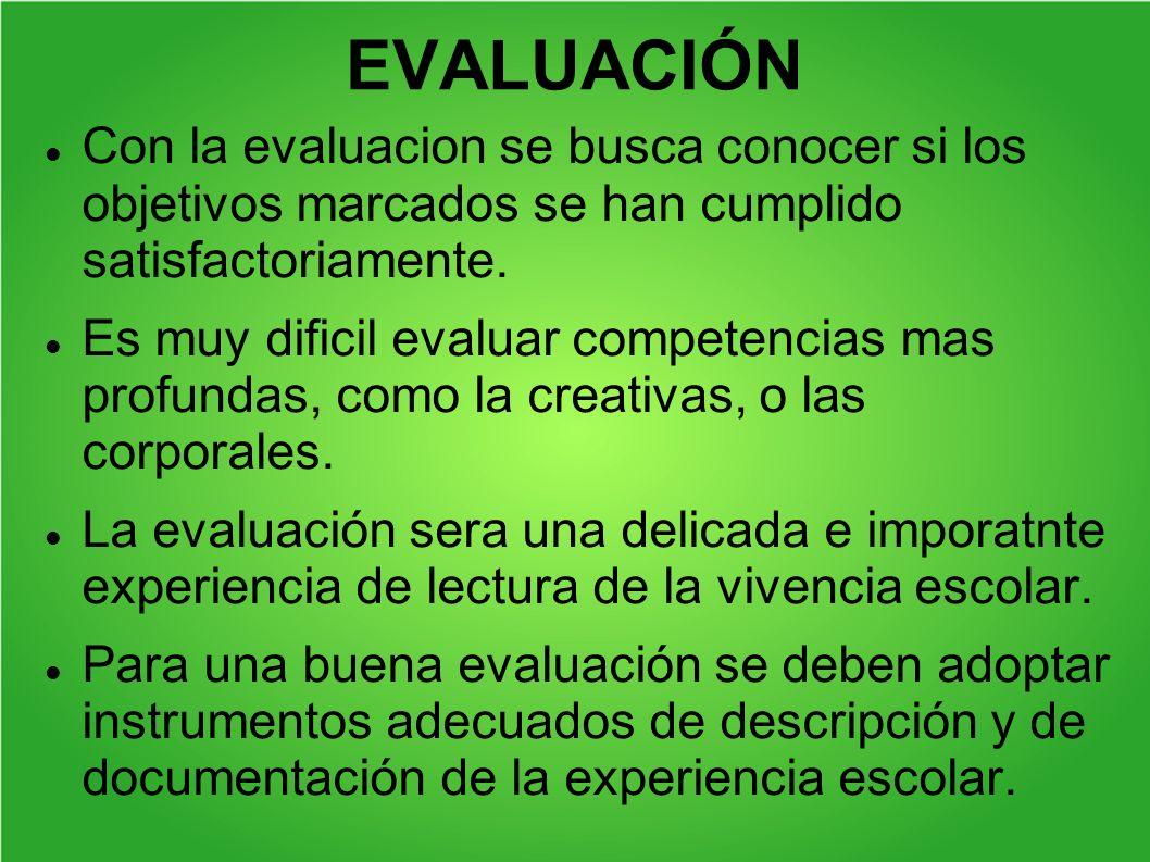 EVALUACIÓN Con la evaluacion se busca conocer si los objetivos marcados se han cumplido satisfactoriamente. Es muy dificil evaluar competencias mas pr