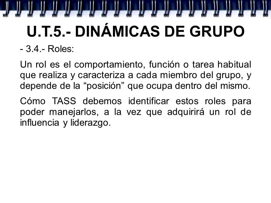 U.T.5.- DINÁMICAS DE GRUPO - 3.4.- Roles: Un rol es el comportamiento, función o tarea habitual que realiza y caracteriza a cada miembro del grupo, y