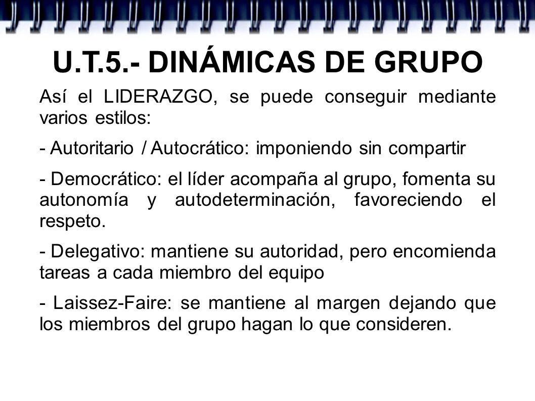 U.T.5.- DINÁMICAS DE GRUPO Así el LIDERAZGO, se puede conseguir mediante varios estilos: - Autoritario / Autocrático: imponiendo sin compartir - Democ