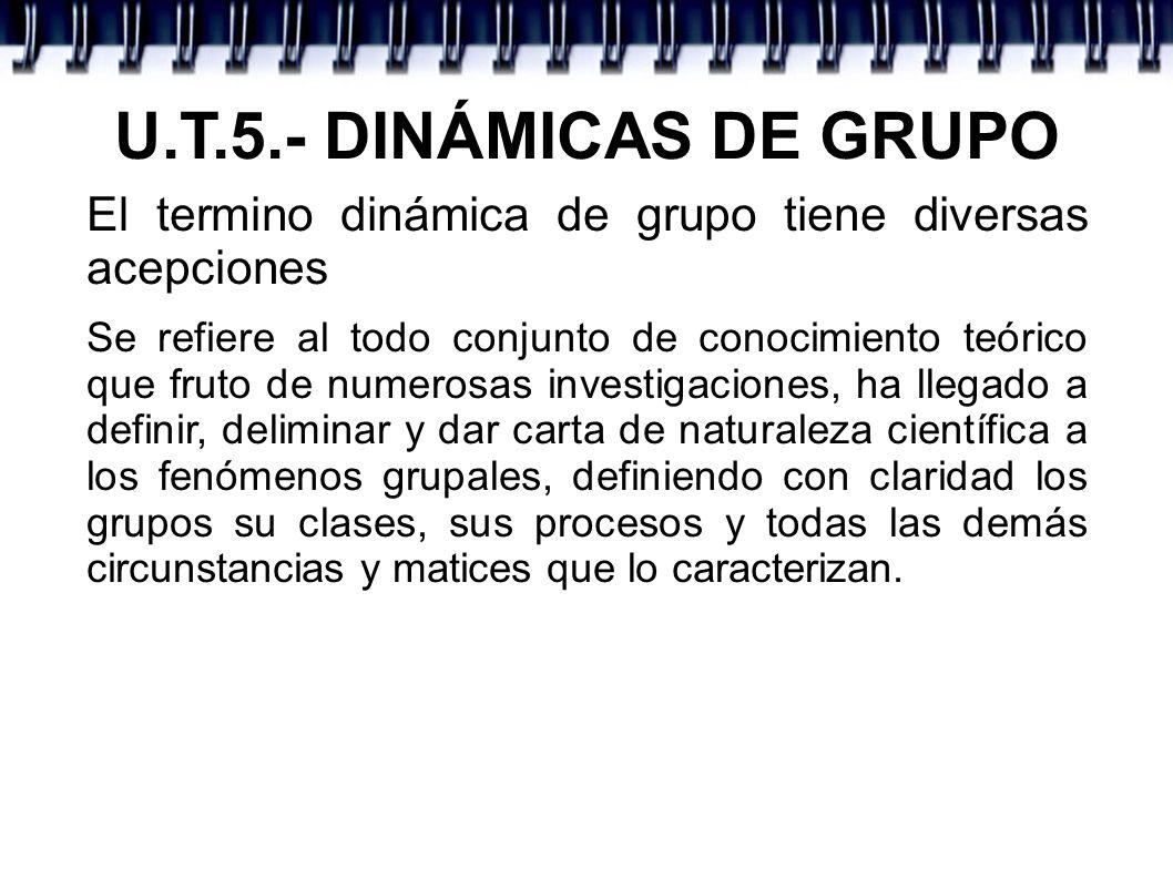 U.T.5.- DINÁMICAS DE GRUPO El termino dinámica de grupo tiene diversas acepciones Se refiere al todo conjunto de conocimiento teórico que fruto de num