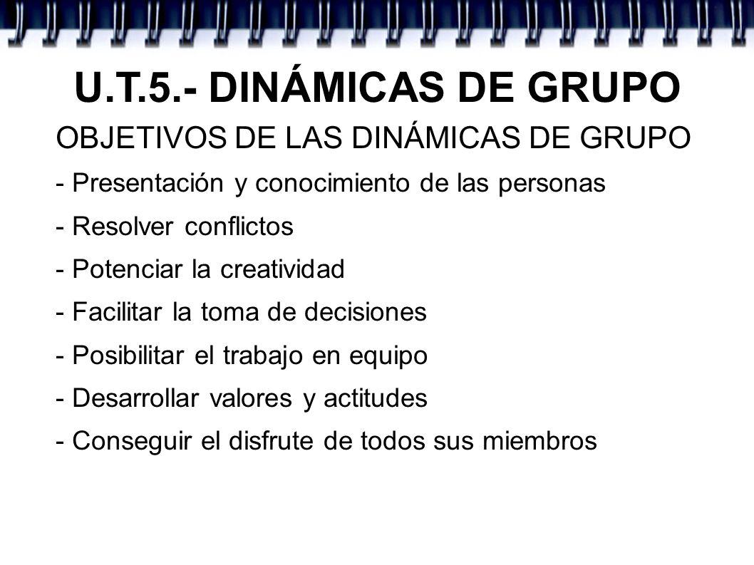 U.T.5.- DINÁMICAS DE GRUPO OBJETIVOS DE LAS DINÁMICAS DE GRUPO - Presentación y conocimiento de las personas - Resolver conflictos - Potenciar la crea