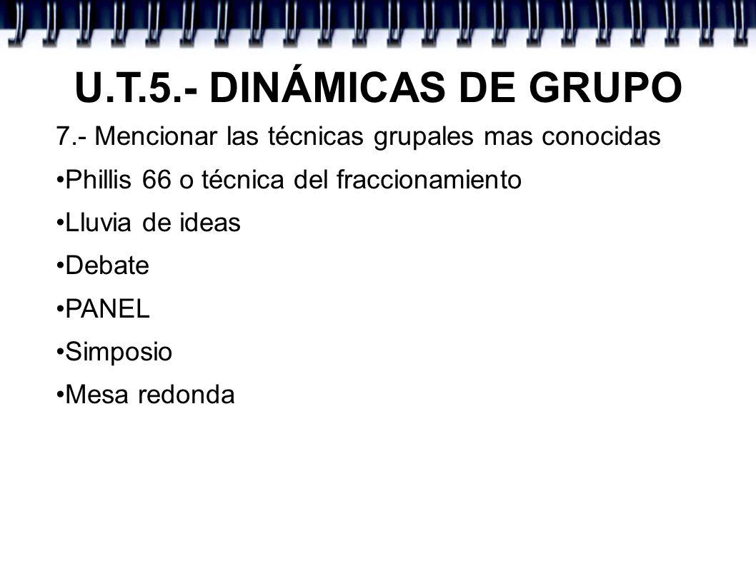 U.T.5.- DINÁMICAS DE GRUPO 7.- Mencionar las técnicas grupales mas conocidas Phillis 66 o técnica del fraccionamiento Lluvia de ideas Debate PANEL Sim