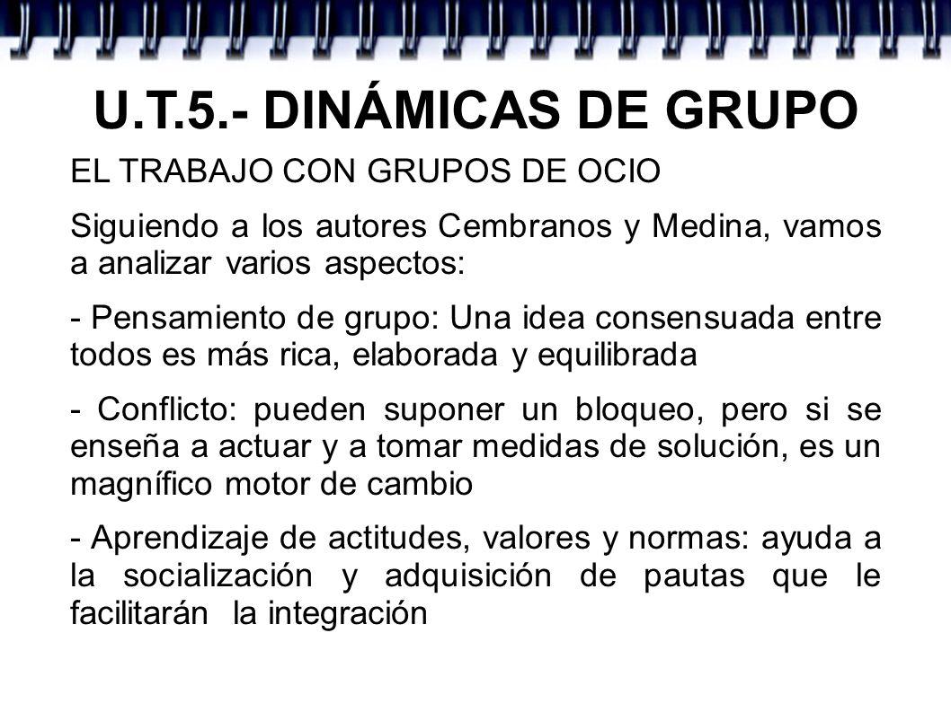U.T.5.- DINÁMICAS DE GRUPO EL TRABAJO CON GRUPOS DE OCIO Siguiendo a los autores Cembranos y Medina, vamos a analizar varios aspectos: - Pensamiento d