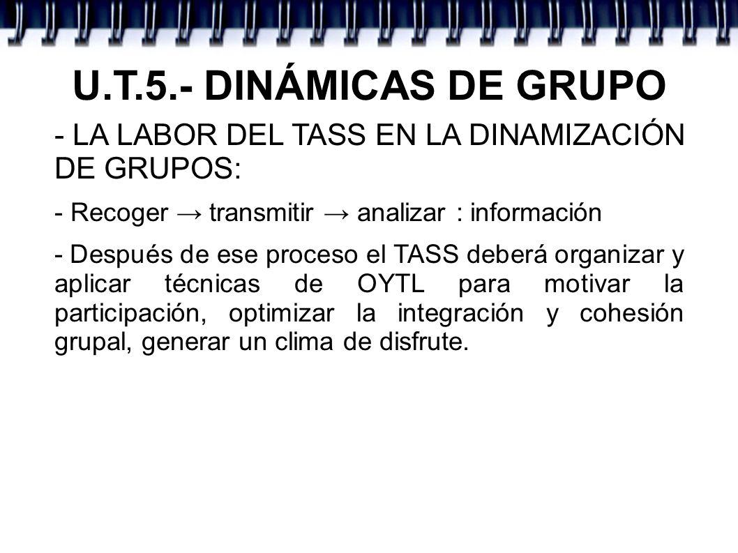 U.T.5.- DINÁMICAS DE GRUPO - LA LABOR DEL TASS EN LA DINAMIZACIÓN DE GRUPOS: - Recoger transmitir analizar : información - Después de ese proceso el T