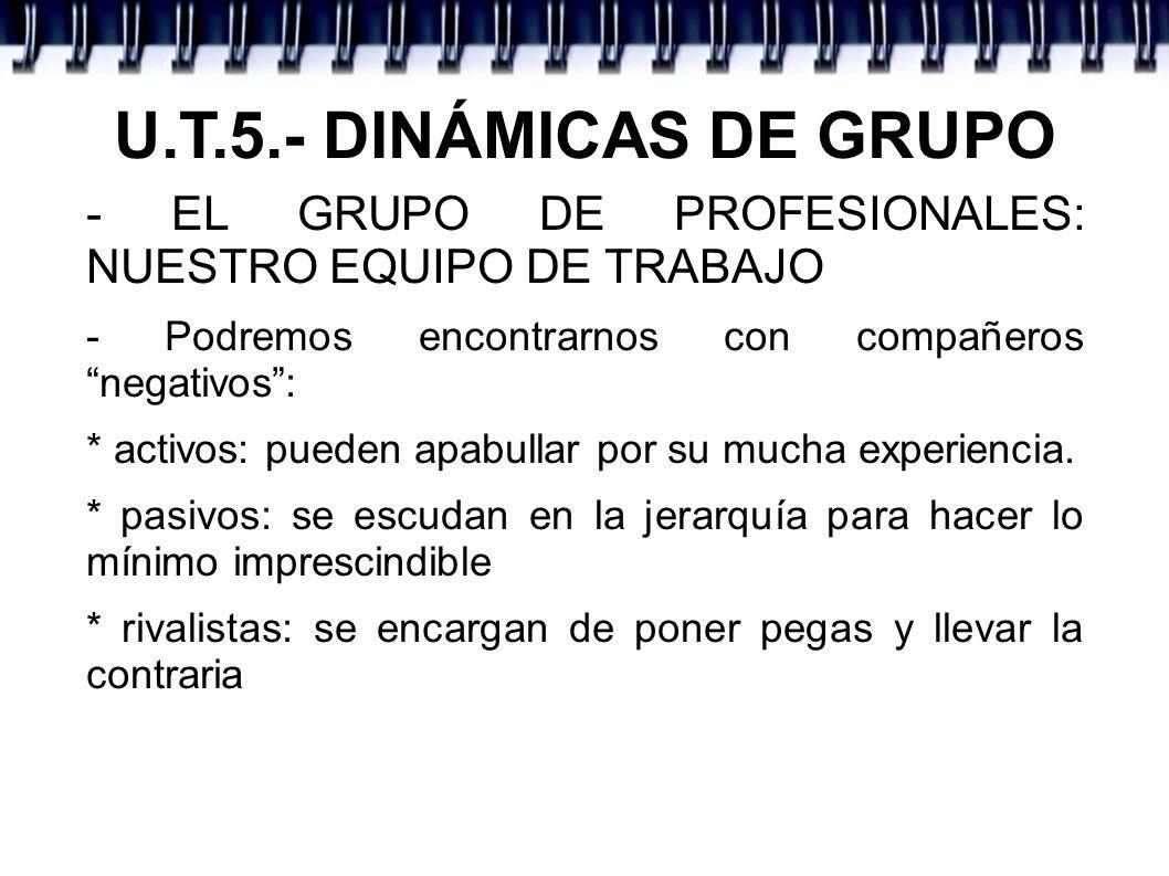 U.T.5.- DINÁMICAS DE GRUPO - EL GRUPO DE PROFESIONALES: NUESTRO EQUIPO DE TRABAJO - Podremos encontrarnos con compañeros negativos: * activos: pueden