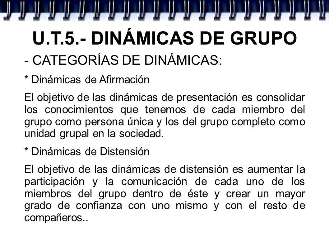 U.T.5.- DINÁMICAS DE GRUPO - CATEGORÍAS DE DINÁMICAS: * Dinámicas de Afirmación El objetivo de las dinámicas de presentación es consolidar los conocim