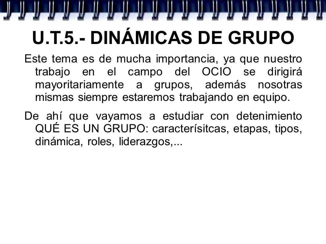 U.T.5.- DINÁMICAS DE GRUPO Ejercicio 1.- De manera individual reflexiona sobre: - ¿Perteneces a algún grupo.