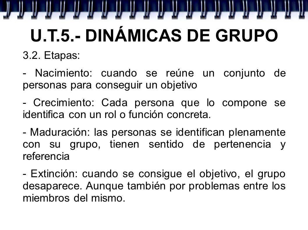U.T.5.- DINÁMICAS DE GRUPO 3.3..- Criterios de clasificación: - Por el grado de afecto: * Primarios: con relaciones importantes * Secundarios: muchas personas y menos afecto - Por la estructura del grupo: * Grupos Formales: estructura muy organizada.