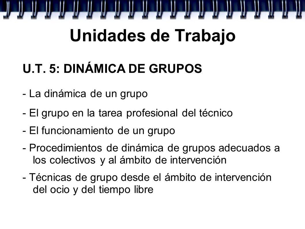 Unidades de Trabajo U.T. 5: DINÁMICA DE GRUPOS - La dinámica de un grupo - El grupo en la tarea profesional del técnico - El funcionamiento de un grup