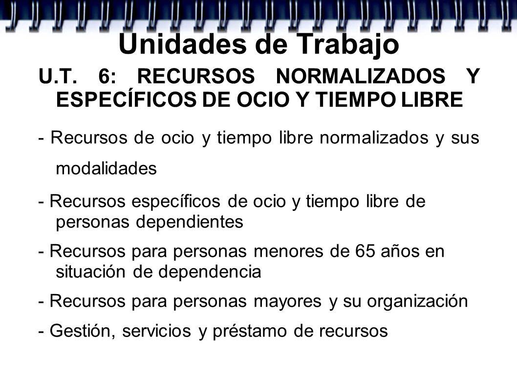 Unidades de Trabajo U.T. 6: RECURSOS NORMALIZADOS Y ESPECÍFICOS DE OCIO Y TIEMPO LIBRE - Recursos de ocio y tiempo libre normalizados y sus modalidade