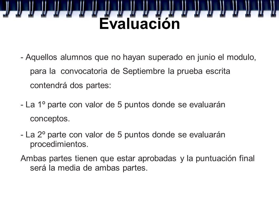 Evaluación - Aquellos alumnos que no hayan superado en junio el modulo, para la convocatoria de Septiembre la prueba escrita contendrá dos partes: - L