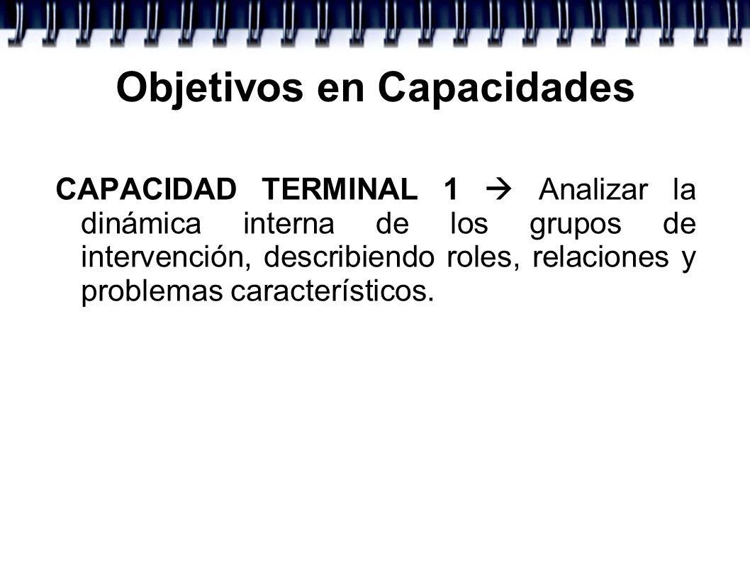 Objetivos en Capacidades CAPACIDAD TERMINAL 1 Analizar la dinámica interna de los grupos de intervención, describiendo roles, relaciones y problemas c