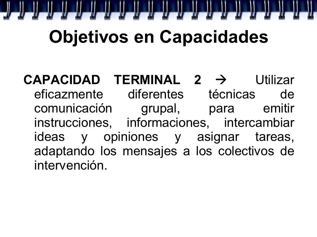Objetivos en Capacidades CAPACIDAD TERMINAL 2 Utilizar eficazmente diferentes técnicas de comunicación grupal, para emitir instrucciones, informacione