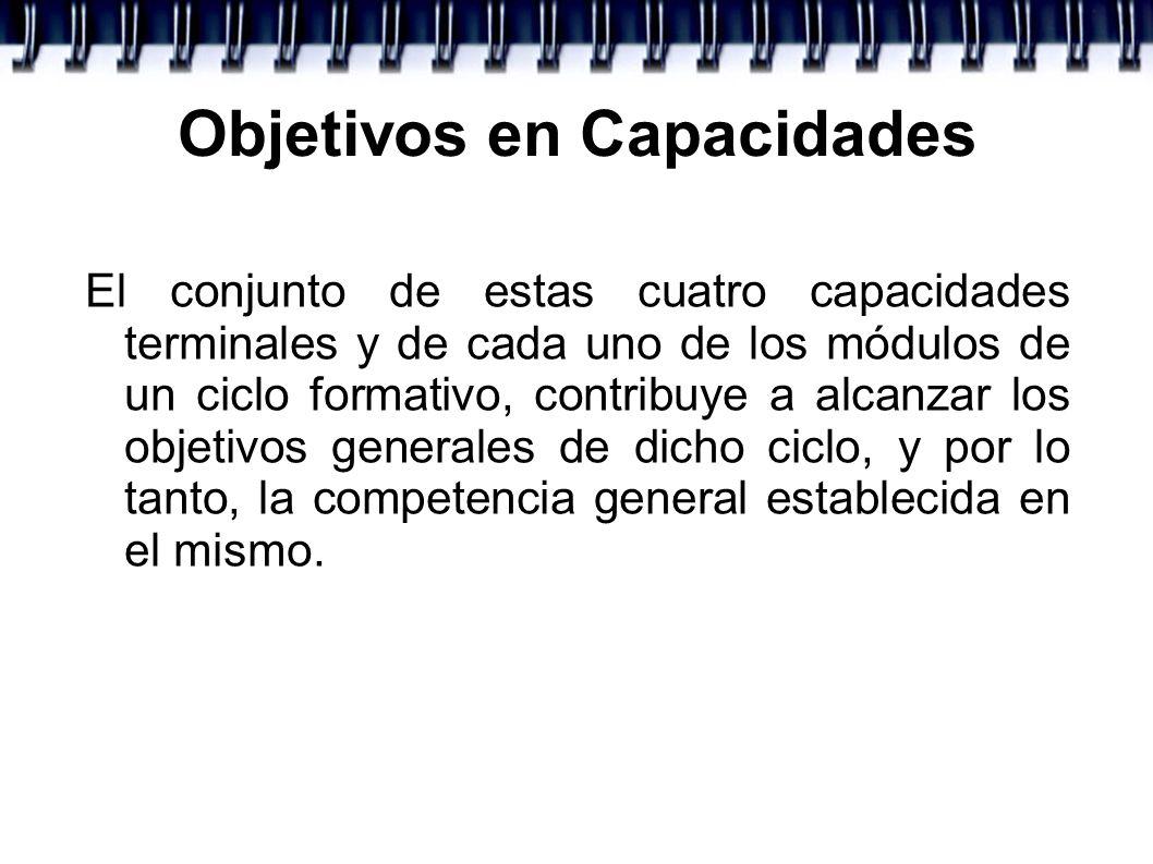 Objetivos en Capacidades El conjunto de estas cuatro capacidades terminales y de cada uno de los módulos de un ciclo formativo, contribuye a alcanzar
