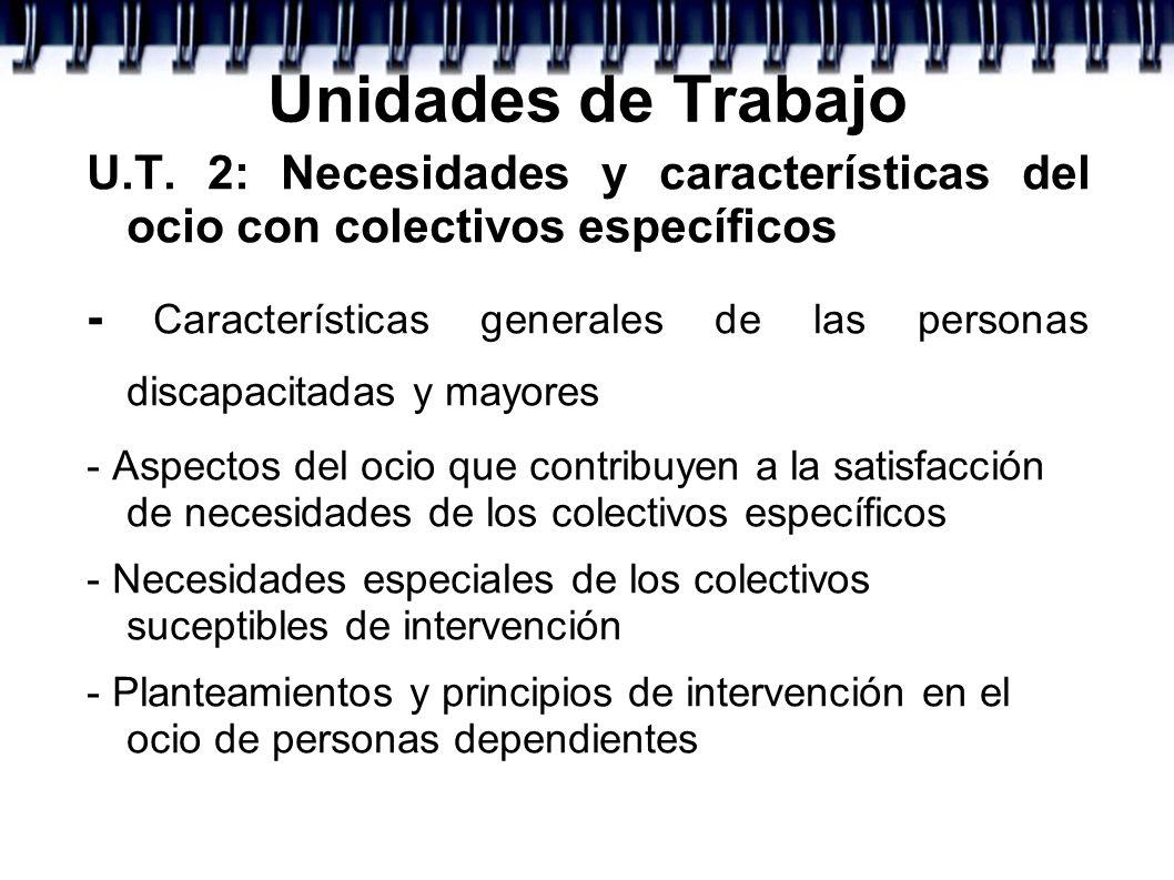Unidades de Trabajo U.T. 2: Necesidades y características del ocio con colectivos específicos - Características generales de las personas discapacitad