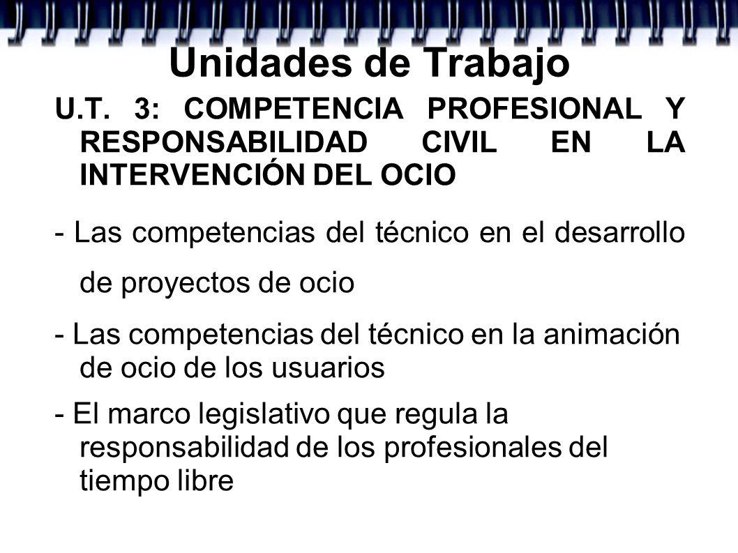 Unidades de Trabajo U.T. 3: COMPETENCIA PROFESIONAL Y RESPONSABILIDAD CIVIL EN LA INTERVENCIÓN DEL OCIO - Las competencias del técnico en el desarroll