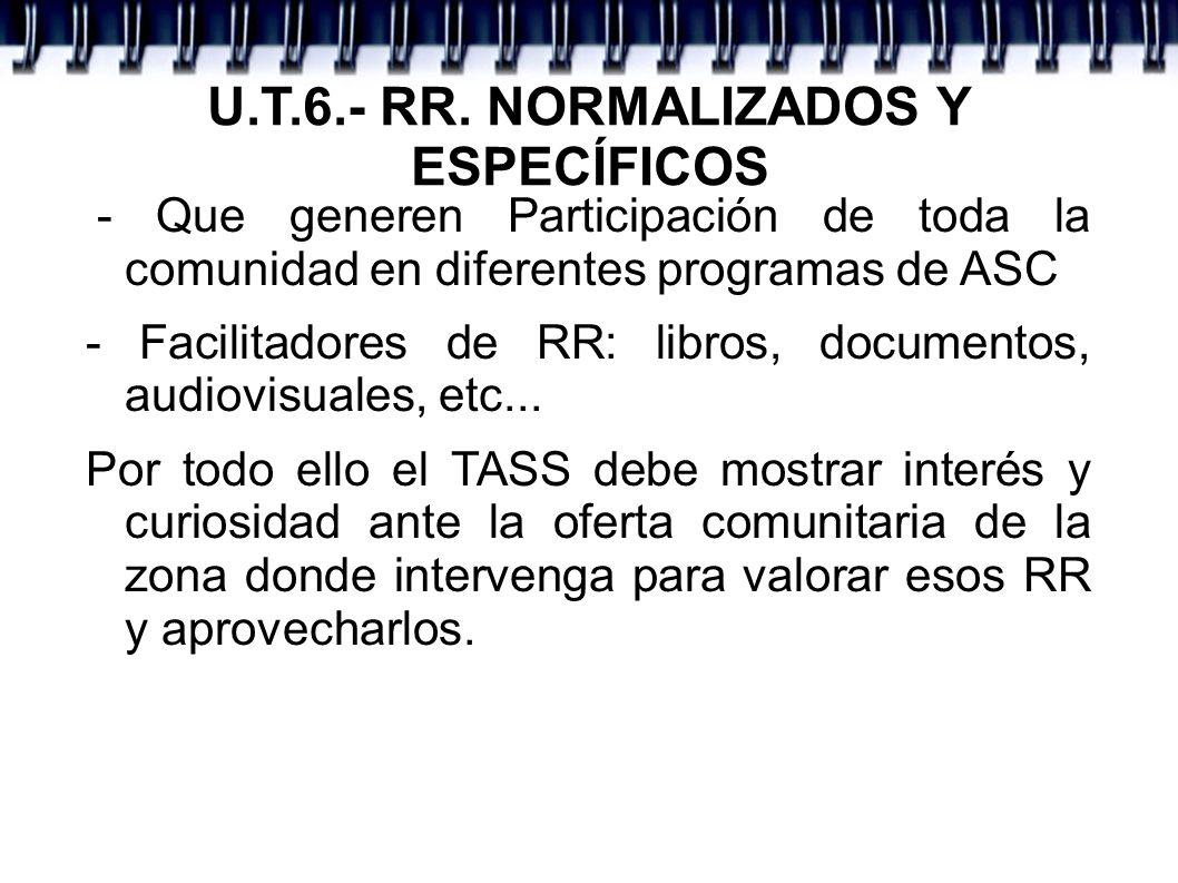 U.T.6.- RR. NORMALIZADOS Y ESPECÍFICOS - Que generen Participación de toda la comunidad en diferentes programas de ASC - Facilitadores de RR: libros,