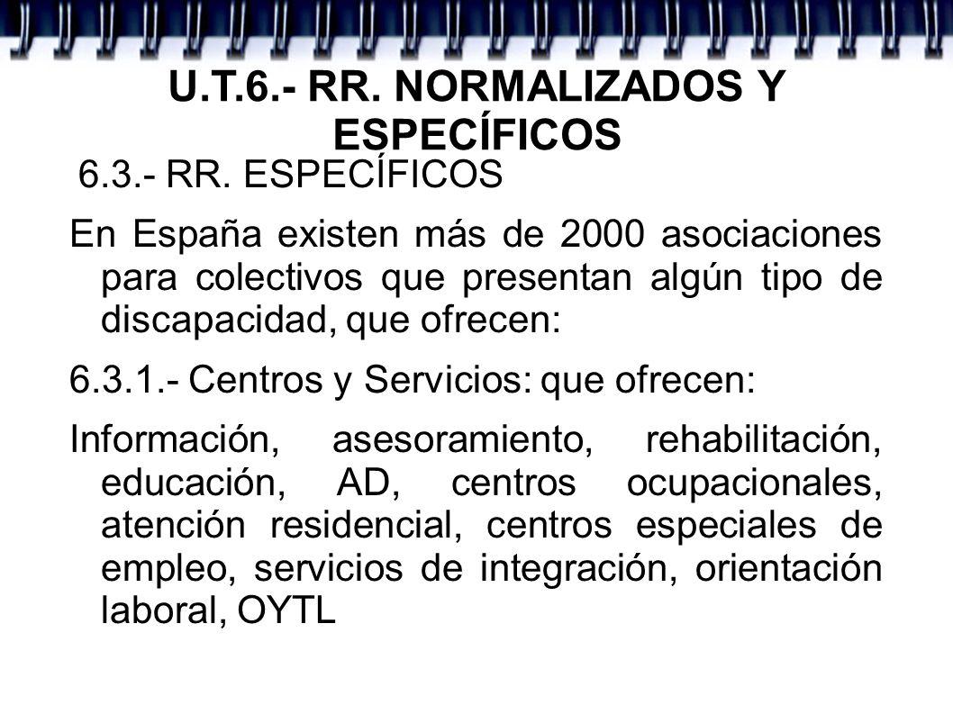 U.T.6.- RR. NORMALIZADOS Y ESPECÍFICOS 6.3.- RR. ESPECÍFICOS En España existen más de 2000 asociaciones para colectivos que presentan algún tipo de di