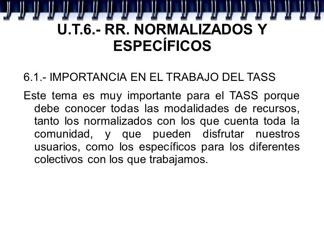 U.T.6.- RR. NORMALIZADOS Y ESPECÍFICOS 6.1.- IMPORTANCIA EN EL TRABAJO DEL TASS Este tema es muy importante para el TASS porque debe conocer todas las