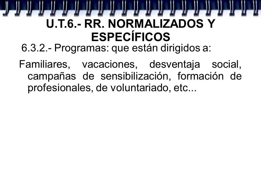 U.T.6.- RR. NORMALIZADOS Y ESPECÍFICOS 6.3.2.- Programas: que están dirigidos a: Familiares, vacaciones, desventaja social, campañas de sensibilizació