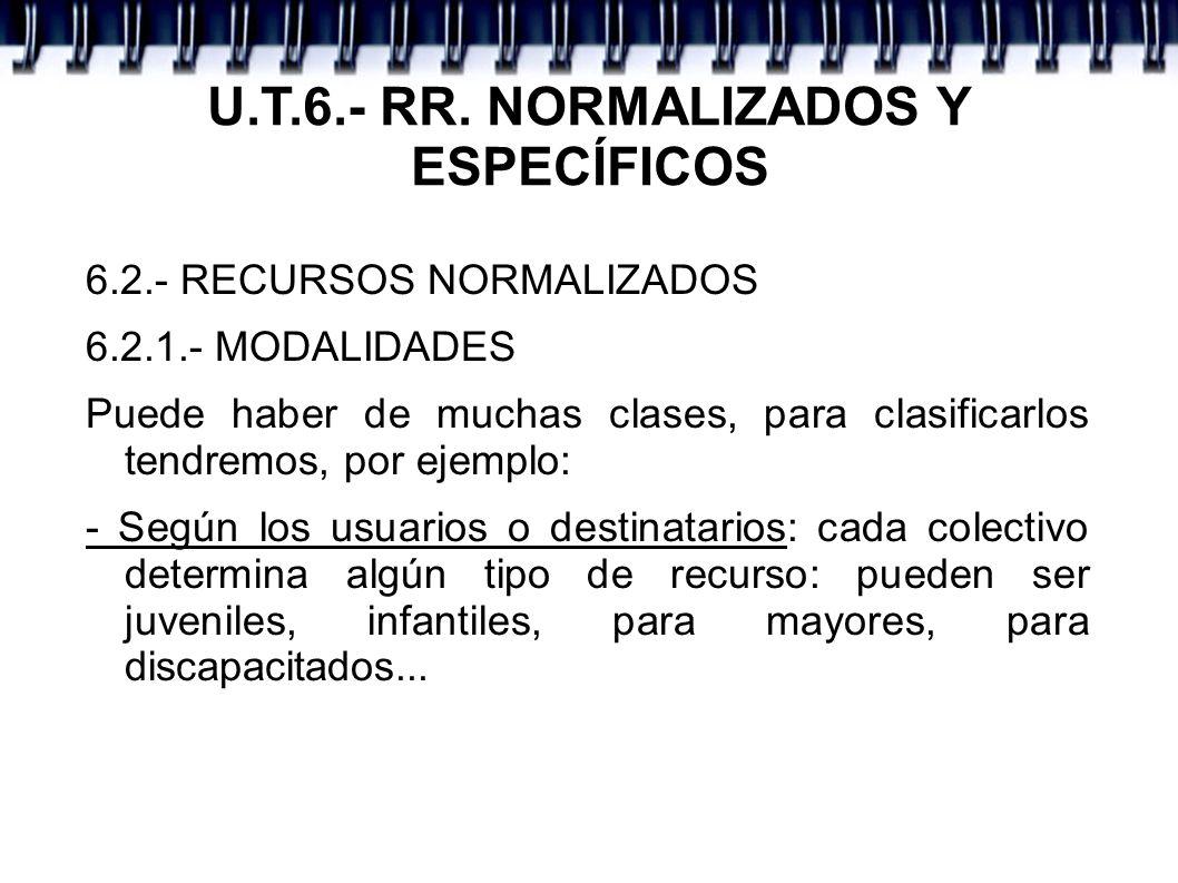 U.T.6.- RR. NORMALIZADOS Y ESPECÍFICOS 6.2.- RECURSOS NORMALIZADOS 6.2.1.- MODALIDADES Puede haber de muchas clases, para clasificarlos tendremos, por