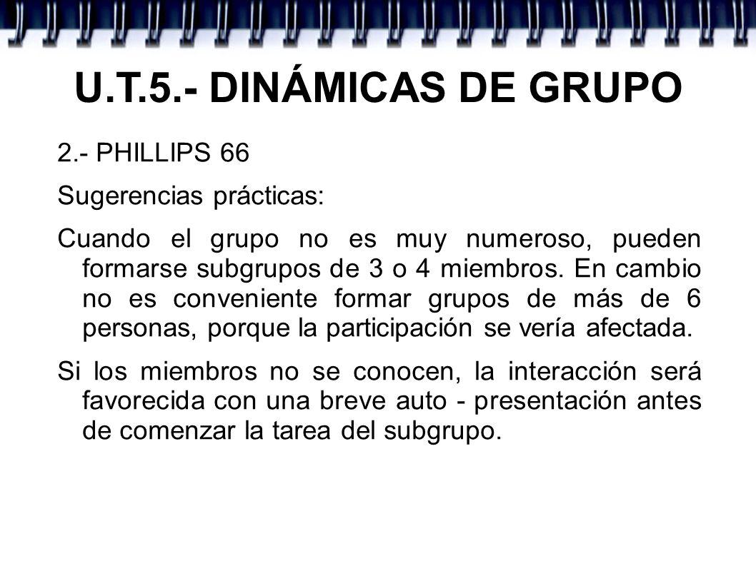 U.T.5.- DINÁMICAS DE GRUPO 2.- PHILLIPS 66 Sugerencias prácticas: Cuando el grupo no es muy numeroso, pueden formarse subgrupos de 3 o 4 miembros. En