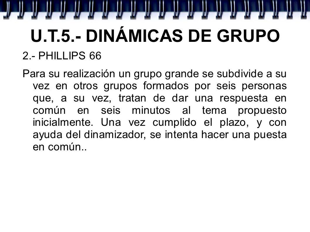 U.T.5.- DINÁMICAS DE GRUPO 2.- PHILLIPS 66 Para su realización un grupo grande se subdivide a su vez en otros grupos formados por seis personas que, a