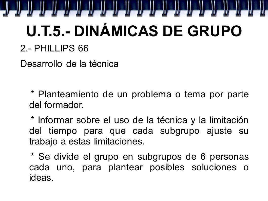 U.T.5.- DINÁMICAS DE GRUPO 2.- PHILLIPS 66 Desarrollo de la técnica * Planteamiento de un problema o tema por parte del formador. * Informar sobre el