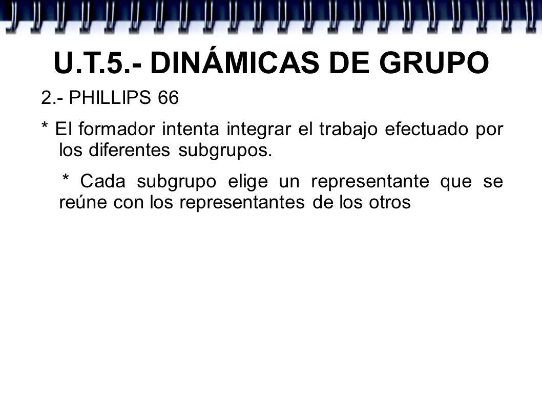 U.T.5.- DINÁMICAS DE GRUPO 2.- PHILLIPS 66 * El formador intenta integrar el trabajo efectuado por los diferentes subgrupos. * Cada subgrupo elige un