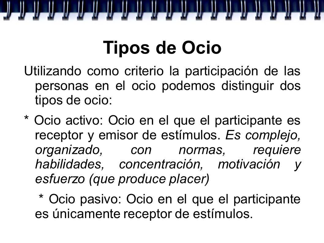 Tipos de Ocio Utilizando como criterio la participación de las personas en el ocio podemos distinguir dos tipos de ocio: * Ocio activo: Ocio en el que