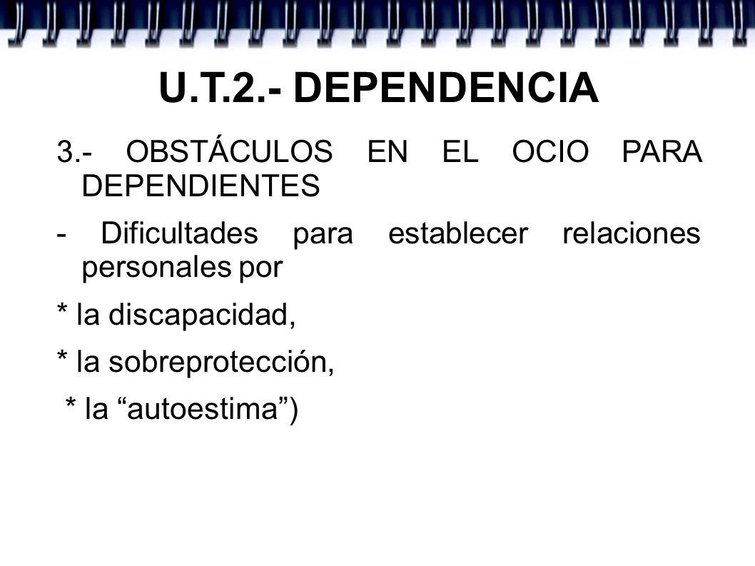 U.T.2.- DEPENDENCIA 3.- OBSTÁCULOS EN EL OCIO PARA DEPENDIENTES - Dificultades para establecer relaciones personales por * la discapacidad, * la sobreprotección, * la autoestima)