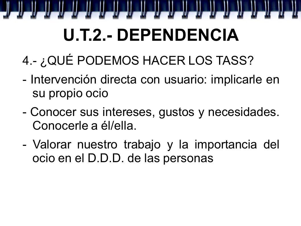 U.T.2.- DEPENDENCIA 4.- ¿QUÉ PODEMOS HACER LOS TASS.