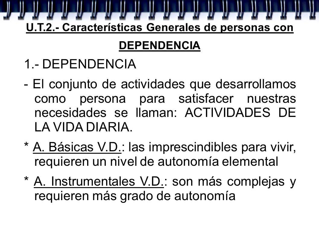 1.- DEPENDENCIA - Es el estado en el que están las personas que han perdido autonomía, por lo que necesitan asistencia para las AVD - Niveles: * Gran Dependencia: asistencia indispensable.