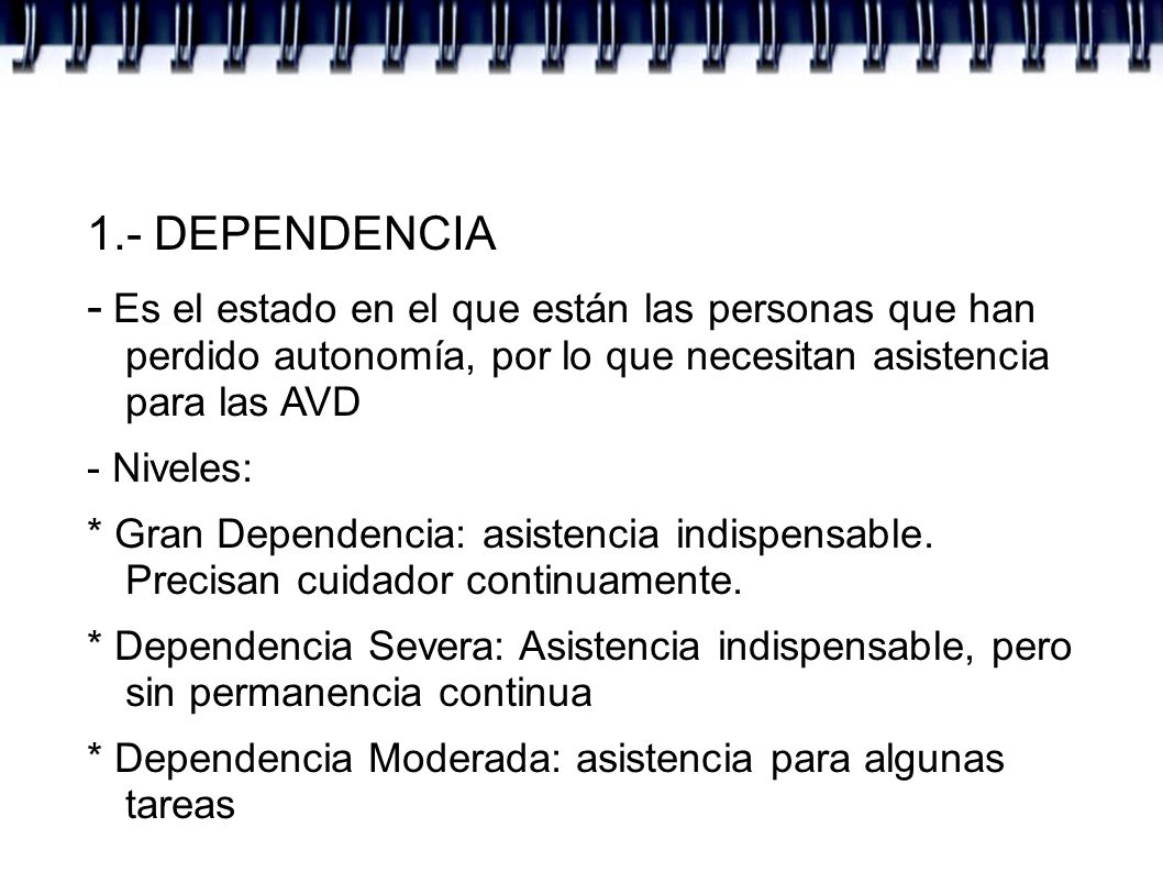 U.T.2.- DEPENDENCIA 1.- DEPENDENCIA - Ley de DependenciaLey de Dependencia - Test Delta de valoración de dependencia - Proceso de valoración de dependencia en CLM - Baremo según la ley: imsersoBaremo según la ley: imserso