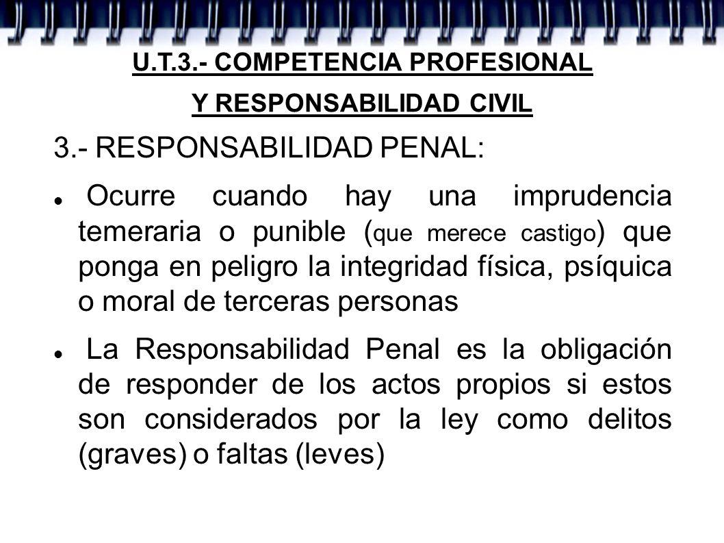 U.T.3.- COMPETENCIA PROFESIONAL Y RESPONSABILIDAD CIVIL 3.- RESPONSABILIDAD PENAL: Ocurre cuando hay una imprudencia temeraria o punible ( que merece