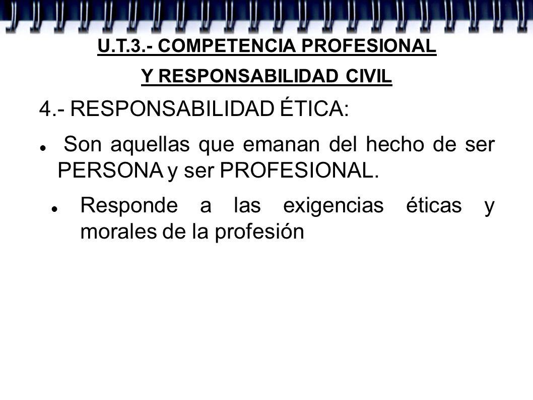 U.T.3.- COMPETENCIA PROFESIONAL Y RESPONSABILIDAD CIVIL 4.- RESPONSABILIDAD ÉTICA: Son aquellas que emanan del hecho de ser PERSONA y ser PROFESIONAL.