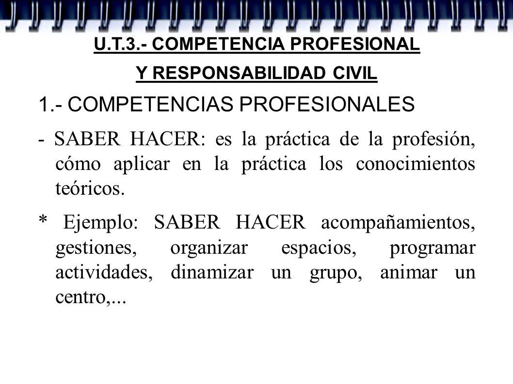 U.T.3.- COMPETENCIA PROFESIONAL Y RESPONSABILIDAD CIVIL 1.- COMPETENCIAS PROFESIONALES - SABER HACER: es la práctica de la profesión, cómo aplicar en