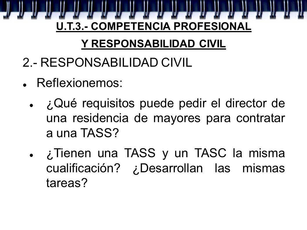 U.T.3.- COMPETENCIA PROFESIONAL Y RESPONSABILIDAD CIVIL 2.- RESPONSABILIDAD CIVIL Reflexionemos: ¿Qué requisitos puede pedir el director de una reside