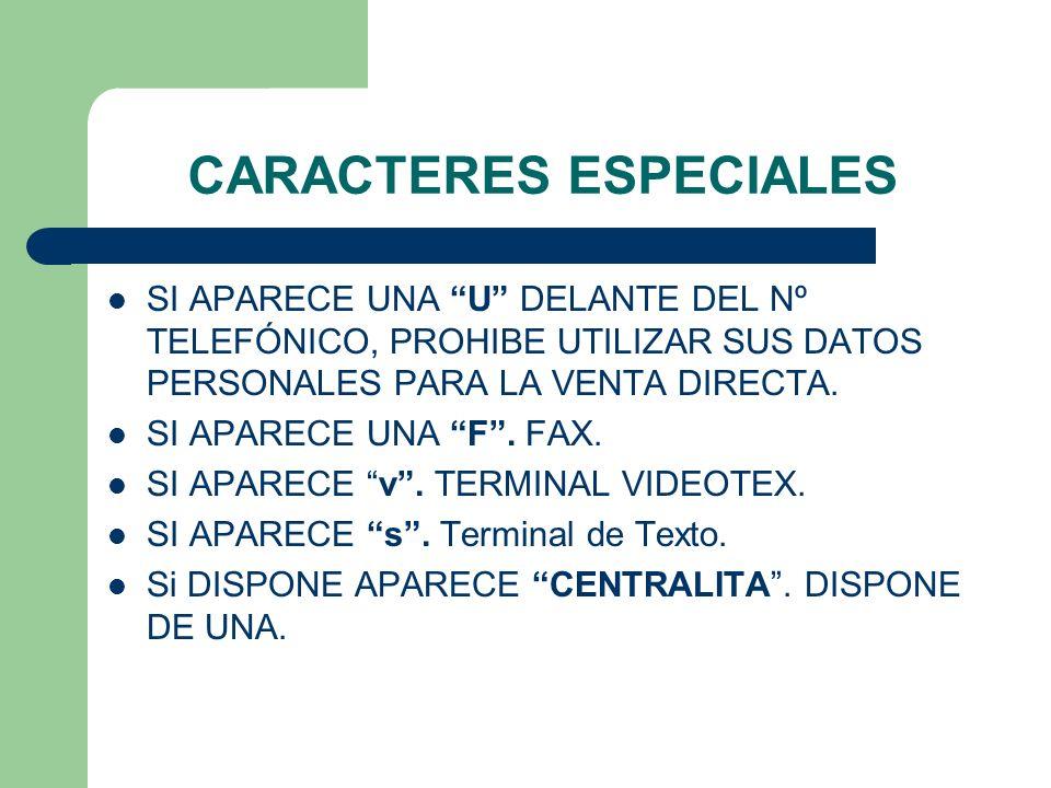 CARACTERES ESPECIALES SI APARECE UNA U DELANTE DEL Nº TELEFÓNICO, PROHIBE UTILIZAR SUS DATOS PERSONALES PARA LA VENTA DIRECTA. SI APARECE UNA F. FAX.
