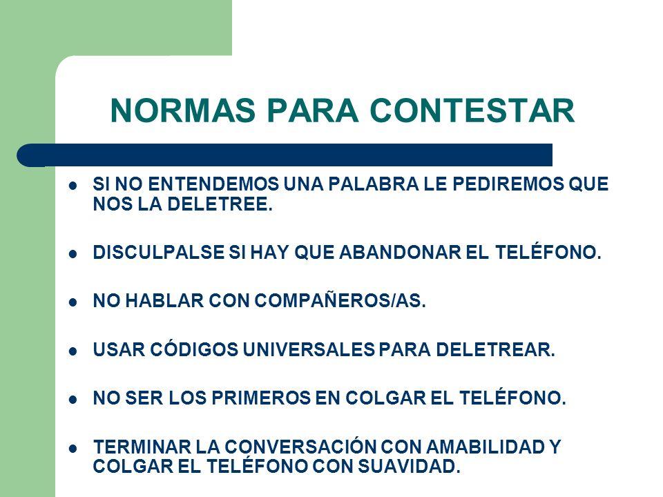 NORMAS PARA CONTESTAR SI NO ENTENDEMOS UNA PALABRA LE PEDIREMOS QUE NOS LA DELETREE. DISCULPALSE SI HAY QUE ABANDONAR EL TELÉFONO. NO HABLAR CON COMPA