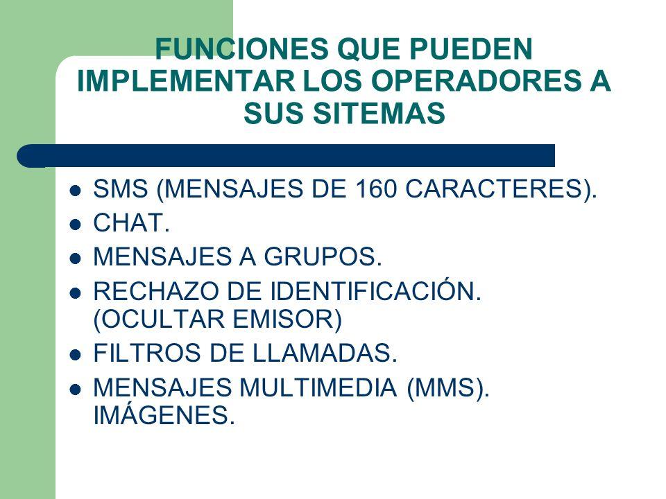 FUNCIONES QUE PUEDEN IMPLEMENTAR LOS OPERADORES A SUS SITEMAS SMS (MENSAJES DE 160 CARACTERES). CHAT. MENSAJES A GRUPOS. RECHAZO DE IDENTIFICACIÓN. (O