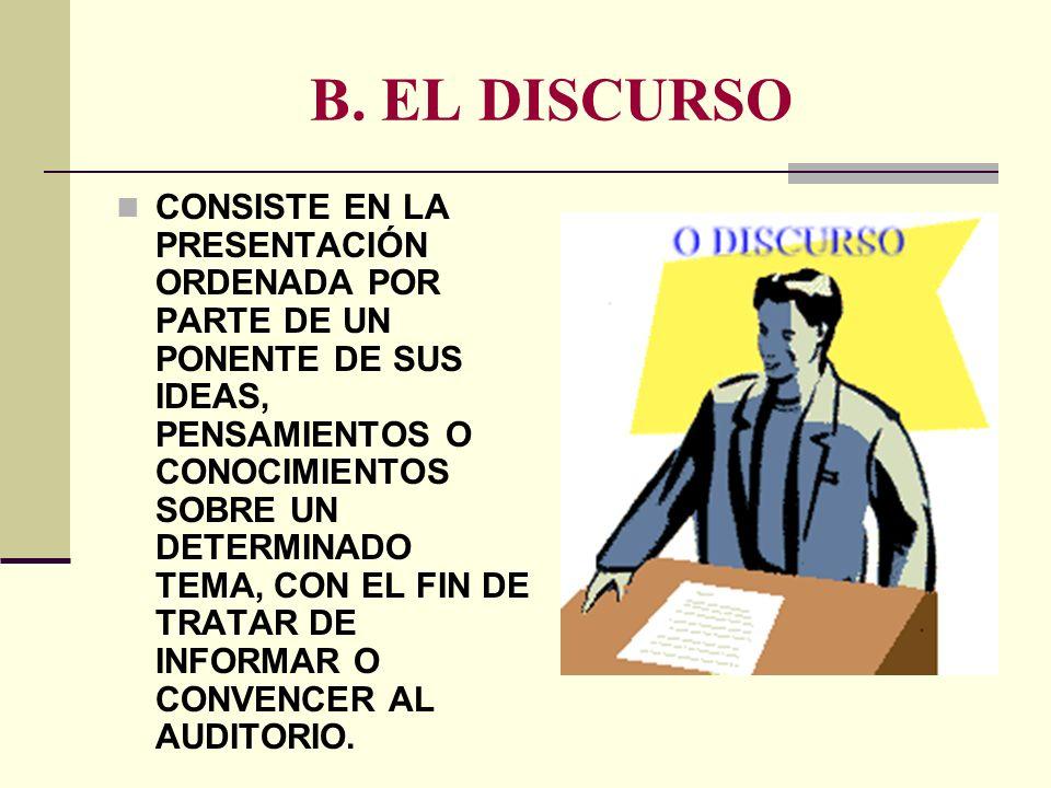 B. EL DISCURSO CONSISTE EN LA PRESENTACIÓN ORDENADA POR PARTE DE UN PONENTE DE SUS IDEAS, PENSAMIENTOS O CONOCIMIENTOS SOBRE UN DETERMINADO TEMA, CON