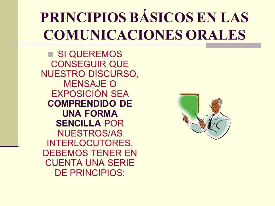 PRINCIPIOS BÁSICOS EN LAS COMUNICACIONES ORALES SI QUEREMOS CONSEGUIR QUE NUESTRO DISCURSO, MENSAJE O EXPOSICIÓN SEA COMPRENDIDO DE UNA FORMA SENCILLA