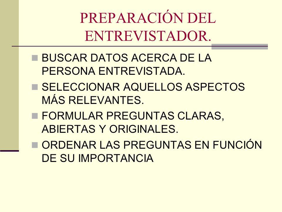 PREPARACIÓN DEL ENTREVISTADOR. BUSCAR DATOS ACERCA DE LA PERSONA ENTREVISTADA. SELECCIONAR AQUELLOS ASPECTOS MÁS RELEVANTES. FORMULAR PREGUNTAS CLARAS